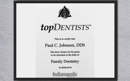 Paul C. Johnson Top Dentist Certificate